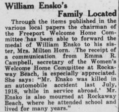Cimetière américain - English: William Ensko's Family Located