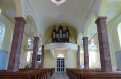 Eglise Notre-Dame de l'Assomption -  Alsace, Bas-Rhin, Villé, Église Notre-Dame-de-l'Assomption (IA67010340): Vue intérieure de la nef vers la tribune d\'orgue.