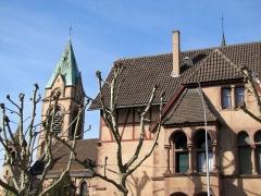 Ensemble paroissial Saint-Joseph de Koenigshoffen - Français:   Alsace, Bas-Rhin, Strasbourg-Koenigshoffen, Eglise néo-romane catholique Saint-Joseph (1900)