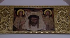 Ensemble paroissial Saint-Joseph de Koenigshoffen - Français:   Alsace, Bas-Rhin, Église catholique Saint-Joseph (1900) de Strasbourg-Koenigshoffen. Représentation peinte du voile de Véronique.
