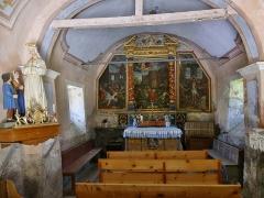 Eglise, chapelles et oratoires - English: Inside sight of Saint-Étienne chapel of Bessans, in Savoie, France.