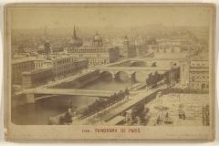 Tribunal de commerce de Paris -  Panorama de Paris. [avec le nouvel Hôtel-Dieu en voie d'achèvement; il sera ouvert en 1878]