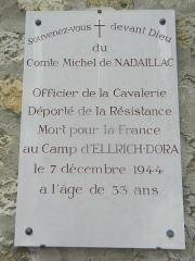 Cimetière de Picpus et ancien couvent des chanoinesses de Picpus - English: Commemorative Plaque for Count Michel de Nadaillac - Picpus Cemetery, Paris 75012.