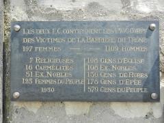 Cimetière de Picpus et ancien couvent des chanoinesses de Picpus - English: Plaque of the victims of the Barrière du Trône - Mass Grave - Picpus Cemetery, Paris 75012.
