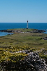 Phare de Pointe-Plate - English: Pointe-Plate Lighthouse in the south of Langlade island (French territory of Saint-Pierre-et-Miquelon)