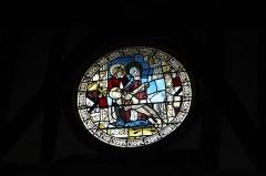 Eglise - Deutsch: Katholische Kirche Saint-Jacques-et-Saint-Philippe in Lentilles im Département Aube (Champagne-Ardenne/Frankreich), Bleiglasfenster aus dem 16. Jahrhundert im Chor, Darstellung: Beweinung Jesu