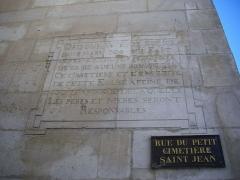 Eglise Saint-Jean - Français:   Église Saint-Jean-du-Marché de Troyes (Aube, France): ordonnance de 1706, rue du Petit-Cimetière-Saint-Jean