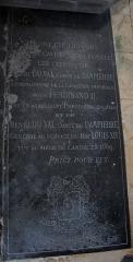 Eglise Notre-Dame-du-Soldat - Français:   Hans (Marne, France), église Notre-Dame-du-Soldat, plaque funéraire de deux Henri Du Val, l\'un mort en 1620 au siège de Presbourg (Bratislava), l\'autre au siège de Candie en 1669.