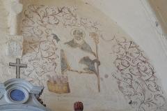 Eglise Saint-Alpin - Deutsch: Katholische Kirche Saint-Alpin in Villevenard im Département Marne in der Region Grand Est/Frankreich, Wandmalerei aus der zweiten Hälfte des 16. Jahrhunderts; heiliger Nikolaus und die drei Scholaren im Salzfass