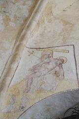 Eglise Saint-Alpin - Deutsch: Katholische Kirche Saint-Alpin in Villevenard im Département Marne in der Region Grand Est/Frankreich, Wandmalerei aus der zweiten Hälfte des 16. Jahrhunderts; Pietà und Stifter