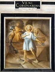 Collège - Français:   détail du retable de l\'autel principal en la chapelle des jésuites de Chaumont. Saint mammès.