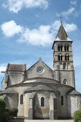 Eglise - Deutsch: Kirche Saint-Étienne in Vignory im Département Haute-Marne (Champagne-Ardenne/Frankreich), Chorhaupt und Turm