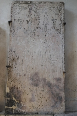 Eglise - Deutsch: Kirche Saint-Étienne in Vignory im Département Haute-Marne (Champagne-Ardenne/Frankreich), Grabplatte