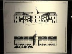 Carmel - Français:   Plan de l\'ancien hôtel-Dieu des Carmélites (élévation et coupe).