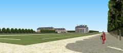 Château des Caramans - Français:   Vue du château et des communs depuis les parterres sud. XVIIIe siècle.