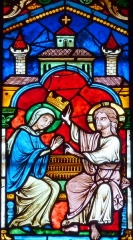 Cathédrale Saint-Jérôme - Deutsch: Bleiglasfenster in der Kathedrale Saint-Jérome in Digne-les-Bains, Darstellung (Ausschnitt): Krönung Mariens