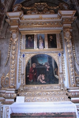 Eglise paroissiale Saint-Martin - La Brigue (Alpes-Maritimes, France), collégiale St-Martin, retable de la Nativité, attribué à Louis Bréa (1514?); la fiche de la base Palissy lui donne par erreur le titre d'Annonciation, effectivement représentée au registre supérieur.