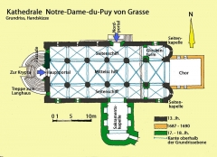 Cathédrale - Deutsch: Kathedrale Notre-Dame-du-Puy von Grasse, Grundriss, Handskizze