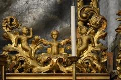 Eglise Saint-Jacques-le-Majeur dite du Gésu - Français:   Elément de décor baroque (bois sculpté, stuc et dorure) à l\'intérieur  de l'Église Saint-Jacques-le-Majeur_Nice (Rue Droite dans le Vieux-Nice, Alpes-Maritimes, Sud de la France).