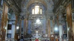 Eglise Saint-Jacques-le-Majeur dite du Gésu - Français:   Rue Droite dans le Vieux-Nice (Alpes-Maritimes), église St Jacques-le-Majeur, la nef vers le choeur, 16-9.