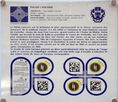 Palais Lascaris - English: An explanatory plaque at palais Lascaris in Nice, France.