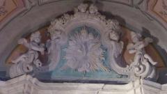Eglise - Français:   La Turbie (Alpes-Maritimes, France), église St Michel-Archange, intérieur; chapelle Vierge de Miséricorde, sommet du retable.