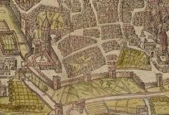 Couvent des Augustins - Français:   Partie Sud-Ouest de la ville d\'Aix-en-Provence en 1575. Le couvent des Augustins se trouve à gauche de l\'image, abrité derrière les remparts et la porte des Augustins.