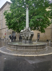 Fontaine des Quatre-Dauphins - English:  Fountain of the Quatre Dauphins in Aix-en-Provence in France.