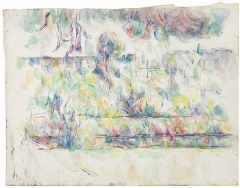 Pavillon de Cézanne - English: Le Jardin des Lauves: vue sur Aix et la Cathédrale de Saint-Sauveur by Paul Cezanne, 1902-06, graphite and watercolor on wove paper, 15.75 x 22 in. (40 x 54 cm.), private collection