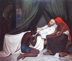 Prieuré des Hospitaliers de Saint-Jean-de-Malte, actuellement Musée Granet -  Mort du Camoëns (Luís de Camões), huile sur toile de Joseph Léon de Lestang-Parade, salon de 1835 n°1425, 196 x 227 cm. Musée Granet, Aix-en-Provence Inv: 835.1.1