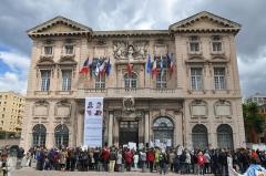 Hôtel de ville - English: Marseille (France, Provence),  protestation for hostages in Sahel before Town Hall