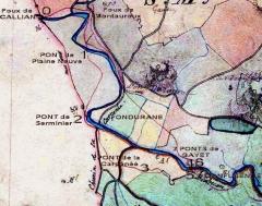 Aqueduc antique (restes de l') - Description jusque là méconnue des branches de l'aqueduc à Fondurane dans le cadastre napoléonien (AD-83=
