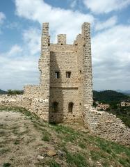 Château -  Tour de la première enceinte médiévale de la ville d'Hyères qui ne serait pas antérieure au XIIIe siècle. Cette tour, photographiée intra-muros, est la première, en partant de l'ouest, qui flanquait la courtine venant prendre appui à l'angle nord-est du château proprement dit. Elle est ouverte à la gorge, ce qui empêchait un éventuel assaillant ayant pu franchir la courtine de pouvoir s'en servir pour sa propre défense. De plan quadrangulaire, cette tour a une hauteur maximum de 15 m. On peut restituer trois niveaux dont deux constitués de planchers de bois. Les constructeurs ont jugé bon de réaliser au préalable une sorte de terrasse en terre-plein retenus par des murs de soutènement en moellons de schiste afin de compenser le fort dénivelée du terrain et de limiter ainsi l'importance des élévations. Les trois murs sont pourvus de deux niveaux d'archères.