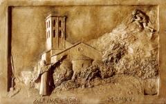 Chapelle de Notre-Dame-d'Aubune - Français:   La Vierge arrête avec sa quenouille la pierre que le diable voulait jeter sur sa chapelle