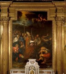 Ancienne cathédrale, puis église paroissiale Saint-Véran - Tableau de Nicolas Mignard représentant saint Véran enchaînant le dragon dans la chapelle de Saint Véran de la cathédrale Saint Véran de Cavaillon (Vaucluse).