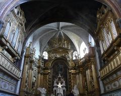 Eglise paroissiale Notre-Dame-des-Anges - Français:   L\'orgue de Charles Royer 1648 et Giovanni Mentasti 1827, à gauche et sa réplique postiche muette, à droite.