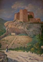 Château (ruines) et rocher qui les porte - Français:   Tableau de H. Mazade de 1920: Chateau des Comtes de Toulouse, à la mairie de Vaison la Romaine (Vaucluse, France)