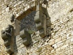 Château (ruines) et rocher qui les porte - Français:   Vaison-la-Romaine, ville du Vaucluse (France). Château des Comtes de Toulouse, mâchicoulis.