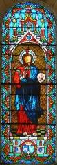 Eglise Notre-Dame de l'Assomption - Français:   Représentation du Sacré-Cœur de Jésus, vitrail de l\'église Notre-Dame de l\'Assomption de Cause, Cause-de-Clérans, Dordogne, France.