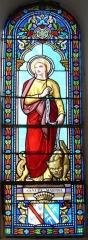 Eglise de la Décollation de Saint-Jean-Baptiste - Français:   Représentation de sainte Marthe, vitrail de l\'église, Fanlac, Dordogne, France.