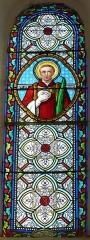 Eglise de la Décollation de Saint-Jean-Baptiste - Français:   Représentation de saint Étienne, vitrail de l\'église, Fanlac, Dordogne, France.