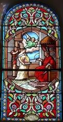 Eglise de la Décollation de Saint-Jean-Baptiste - Français:   Représentation de la décollation de saint Jean-Baptiste, vitrail de l\'église de Fanlac, Dordogne, France.
