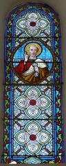 Eglise de la Décollation de Saint-Jean-Baptiste - Français:   Représentation de saint Pierre, vitrail de l\'église, Fanlac, Dordogne, France.