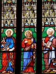 Eglise Saint-Dominique - Français:   Monpazier - Eglise Saint-Dominique - Vitrail du XIXe siècle de l\'abside réalisé par Jean Besseyrias