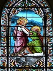 Eglise Saint-Pierre-ès-Liens - Français:   Détail de la vie de saint Pierre, œuvre d\'Henri Feur, vitrail du transept est de l\'église Saint-Pierre-ès-Liens de Montignac, Dordogne, France.
