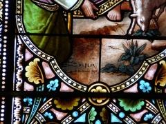Eglise Saint-Pierre-ès-Liens - Français:   Signature d\'Henri Feur, vitrail du transept est de l\'église Saint-Pierre-ès-Liens de Montignac, Dordogne, France.