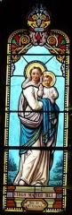 Eglise Notre-Dame de la Nativité - Français:   Détail d\'un vitrail du chœur, église Notre-Dame-de-la-Nativité, Pressignac-Vicq, Dordogne, France.