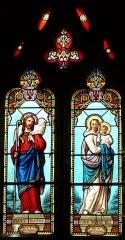 Eglise Notre-Dame de la Nativité - Français:   Vitraux du chœur, église Notre-Dame-de-la-Nativité, Pressignac-Vicq, Dordogne, France.