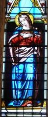 Eglise Saint-Germain de Rouffignac - Français:   La Vierge Marie, détail d\'un vitrail de l\'église Saint-Germain de Paris, Rouffignac-Saint-Cernin-de-Reilhac, Dordogne, France.