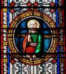 Eglise Saint-Germain de Rouffignac - Français:   Saint Pierre, détail d\'un vitrail de l\'église Saint-Germain de Paris, Rouffignac-Saint-Cernin-de-Reilhac, Dordogne, France.